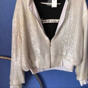 Vintage white sequin jacket